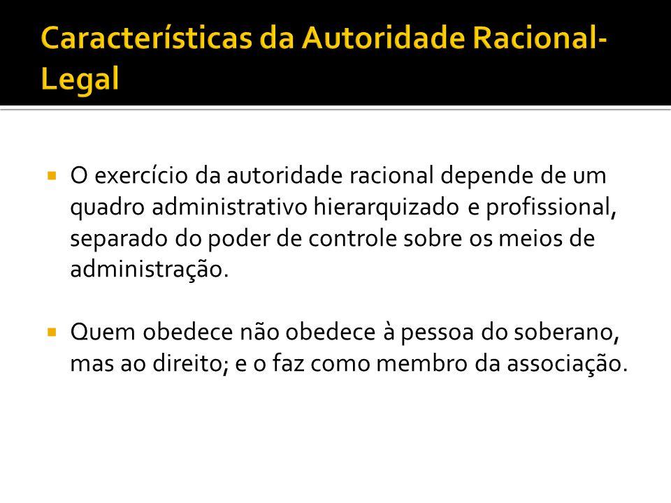 Características da Autoridade Racional-Legal