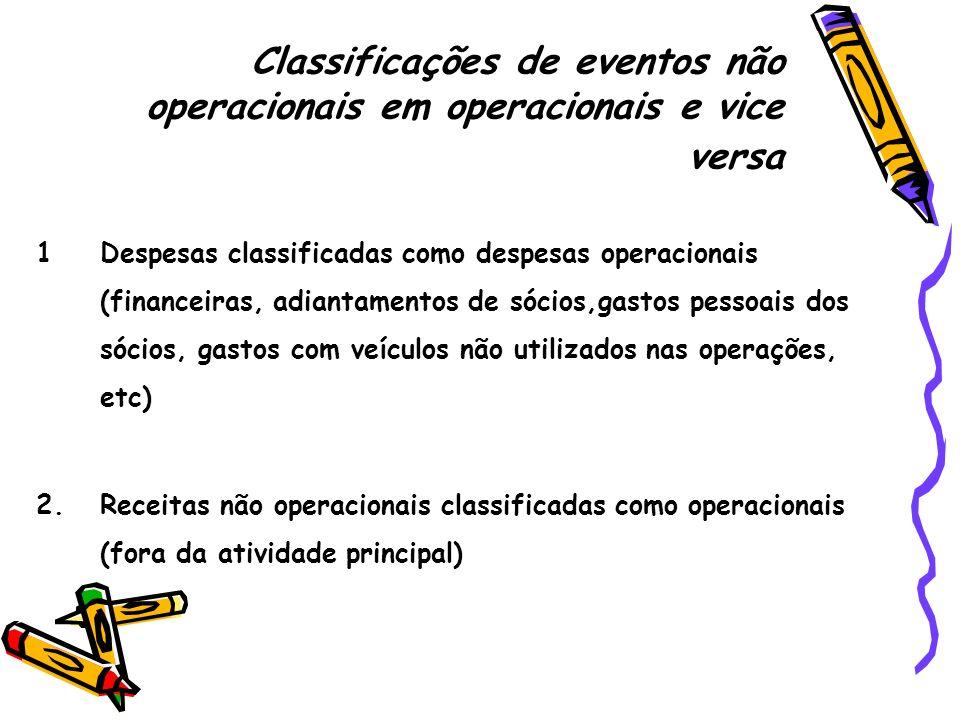 Classificações de eventos não operacionais em operacionais e vice versa