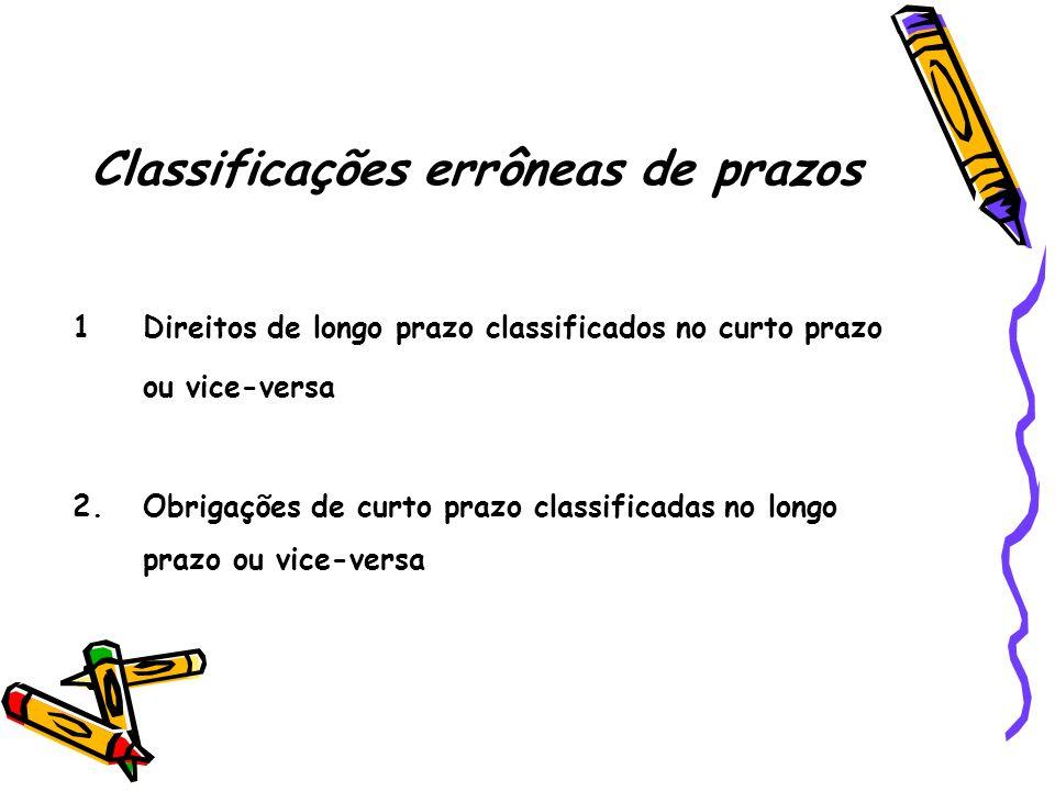 Classificações errôneas de prazos
