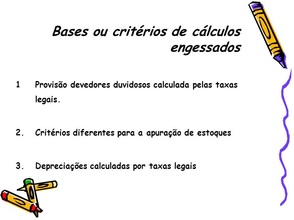 Bases ou critérios de cálculos engessados
