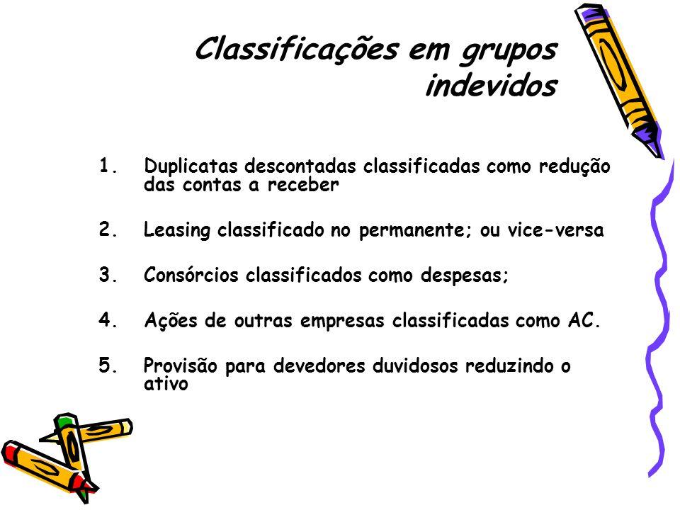 Classificações em grupos indevidos