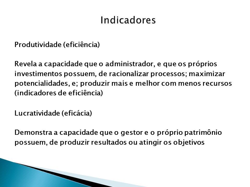 Indicadores Produtividade (eficiência)