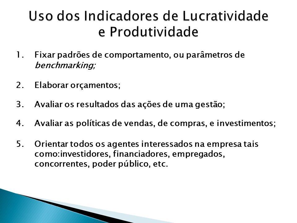Uso dos Indicadores de Lucratividade e Produtividade