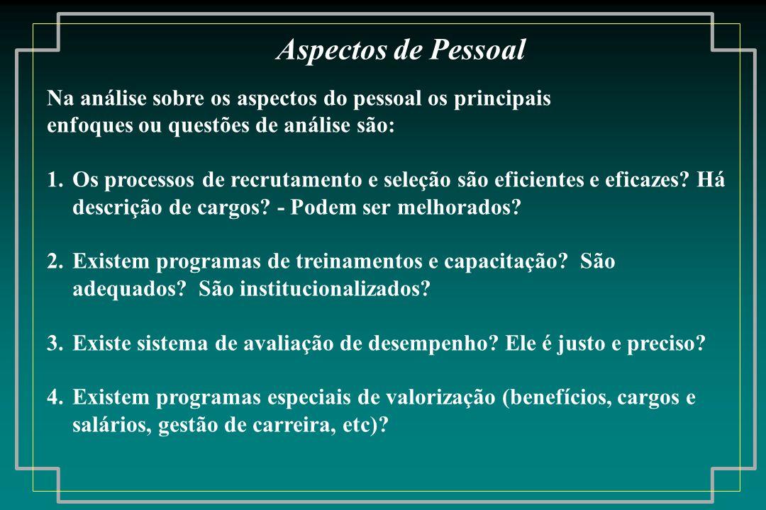 Aspectos de Pessoal Na análise sobre os aspectos do pessoal os principais. enfoques ou questões de análise são: