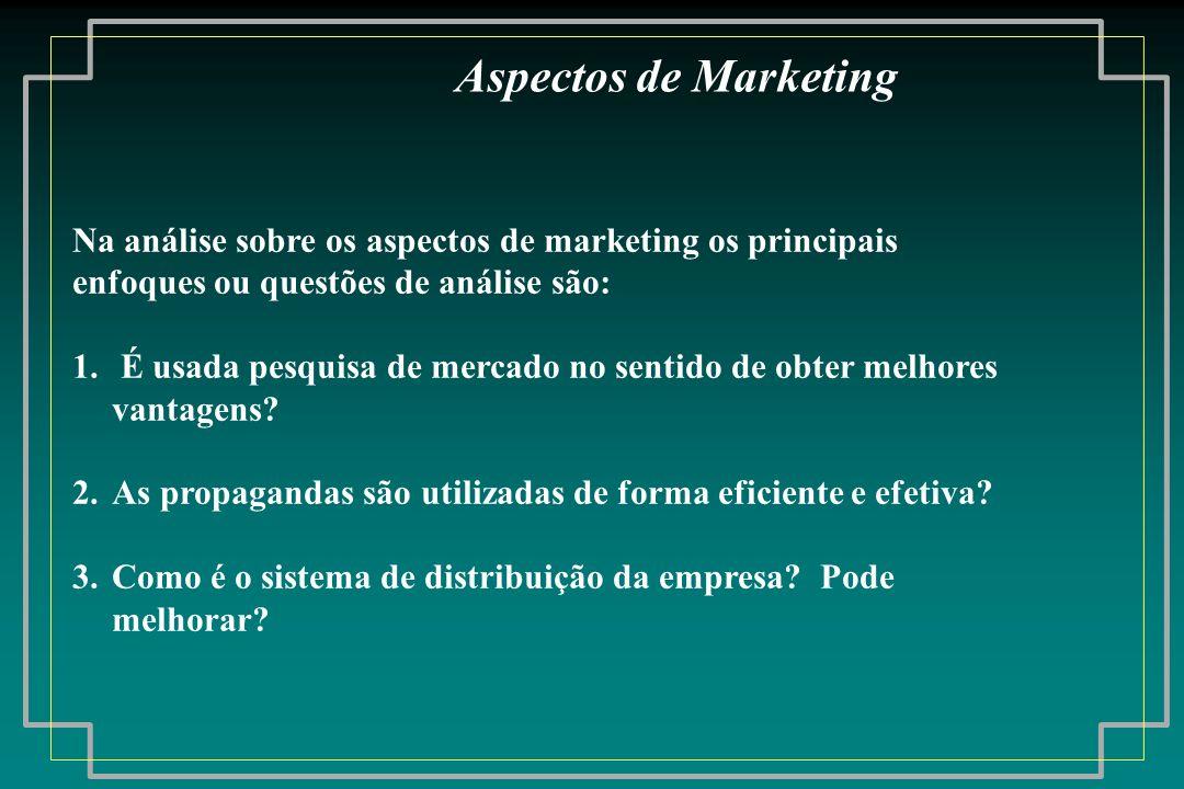 Aspectos de Marketing Na análise sobre os aspectos de marketing os principais. enfoques ou questões de análise são: