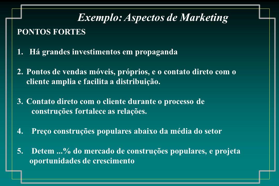 Exemplo: Aspectos de Marketing