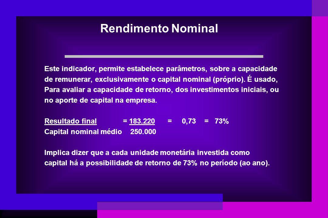 Rendimento Nominal Este indicador, permite estabelece parâmetros, sobre a capacidade.
