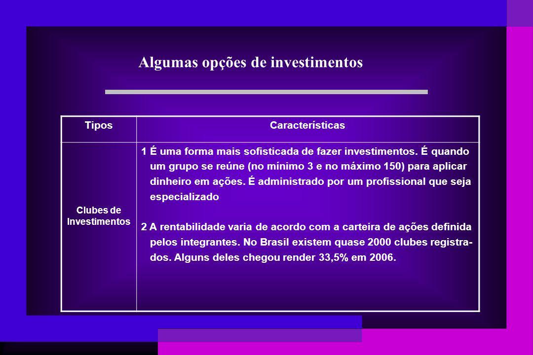 Algumas opções de investimentos Clubes de Investimentos