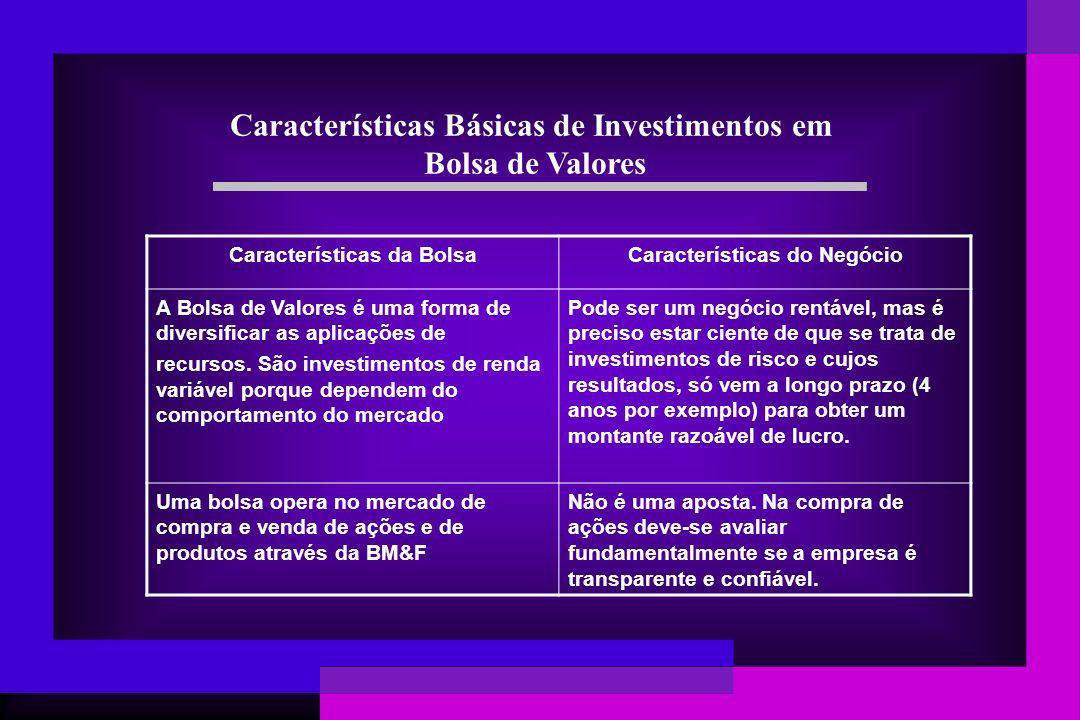 Características Básicas de Investimentos em Bolsa de Valores