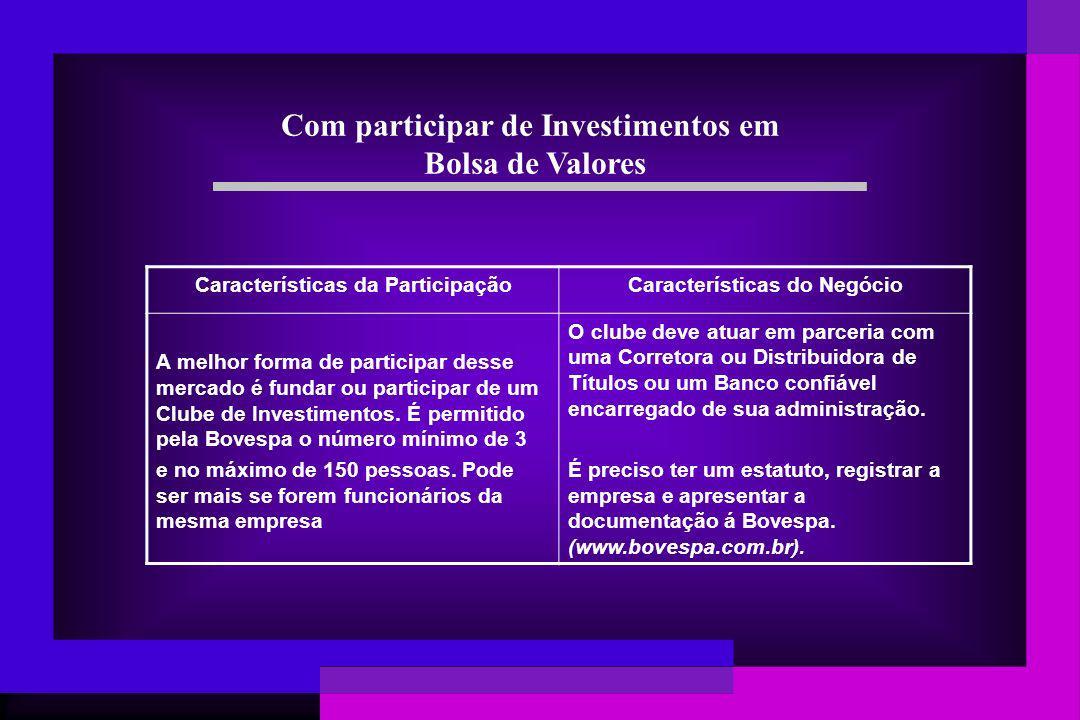 Com participar de Investimentos em Bolsa de Valores