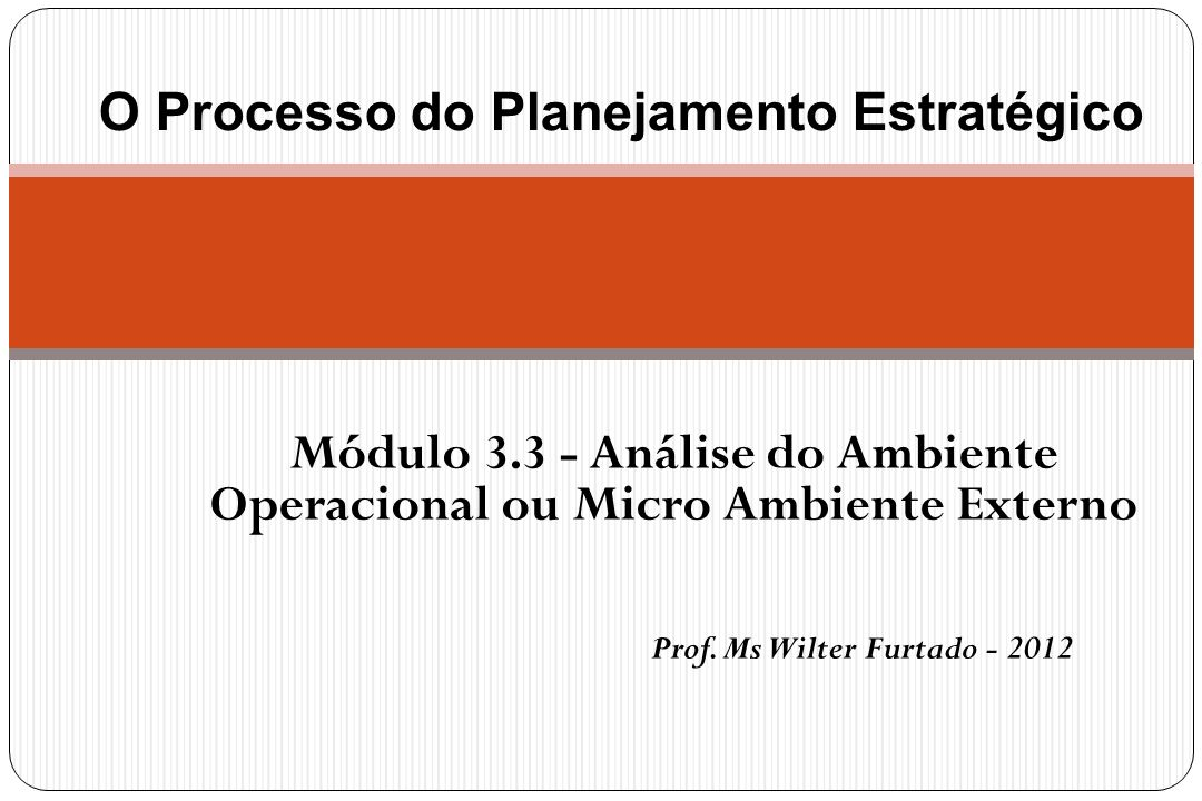 Módulo 3.3 - Análise do Ambiente Operacional ou Micro Ambiente Externo