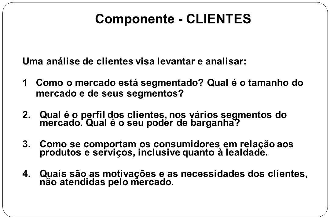 Componente - CLIENTES Uma análise de clientes visa levantar e analisar: 1 Como o mercado está segmentado Qual é o tamanho do.