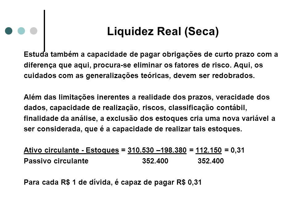 Liquidez Real (Seca) Estuda também a capacidade de pagar obrigações de curto prazo com a.