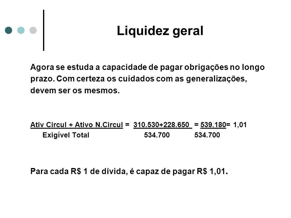 Liquidez geral Agora se estuda a capacidade de pagar obrigações no longo. prazo. Com certeza os cuidados com as generalizações,