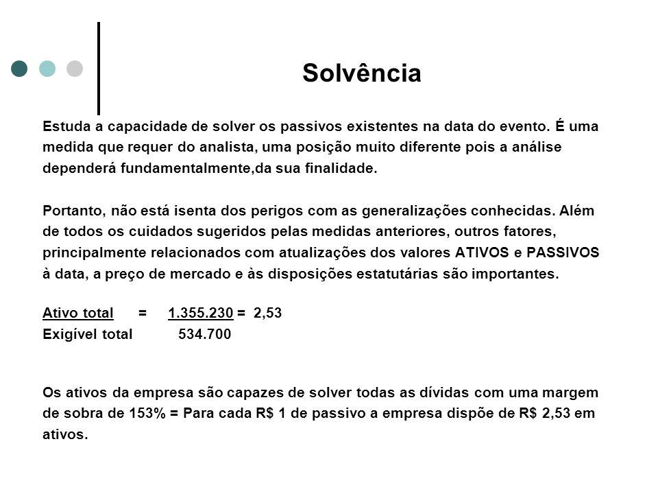 Solvência Estuda a capacidade de solver os passivos existentes na data do evento. É uma.