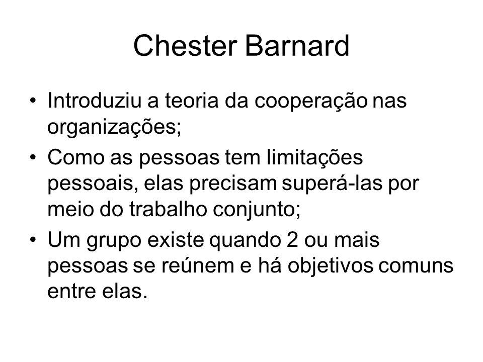 Chester Barnard Introduziu a teoria da cooperação nas organizações;