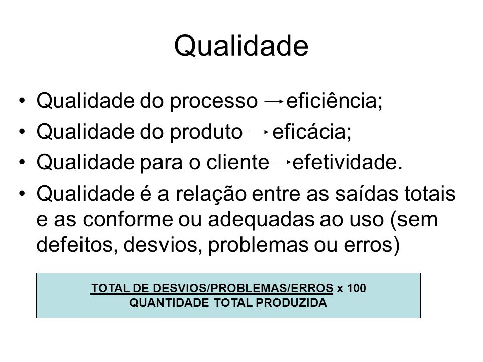 TOTAL DE DESVIOS/PROBLEMAS/ERROS x 100 QUANTIDADE TOTAL PRODUZIDA