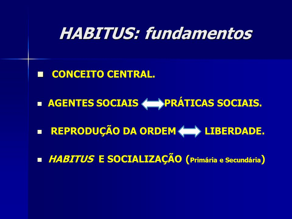 HABITUS: fundamentos CONCEITO CENTRAL.