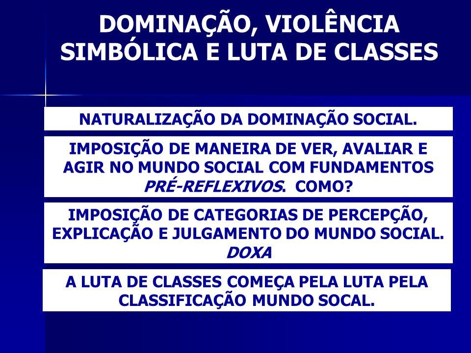 DOMINAÇÃO, VIOLÊNCIA SIMBÓLICA E LUTA DE CLASSES