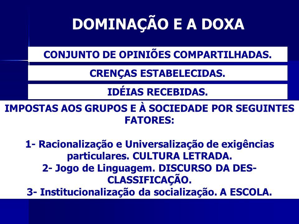 DOMINAÇÃO E A DOXA CONJUNTO DE OPINIÕES COMPARTILHADAS.