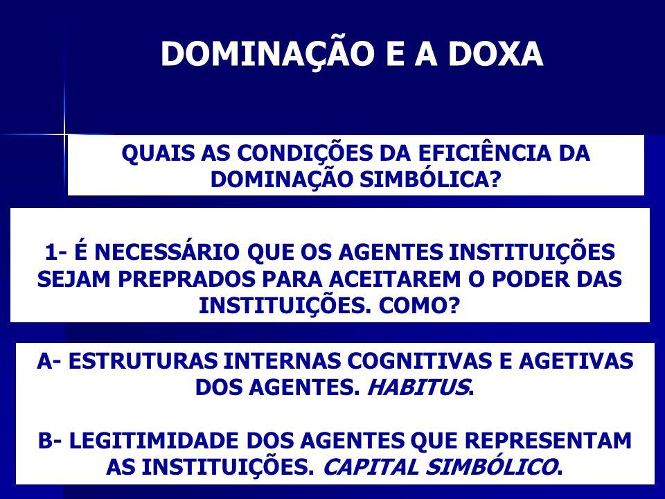 DOMINAÇÃO E A DOXA QUAIS AS CONDIÇÕES DA EFICIÊNCIA DA DOMINAÇÃO SIMBÓLICA