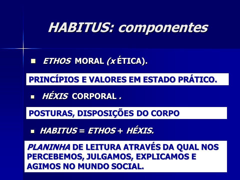 HABITUS: componentes ETHOS MORAL (x ÉTICA). HÉXIS CORPORAL .