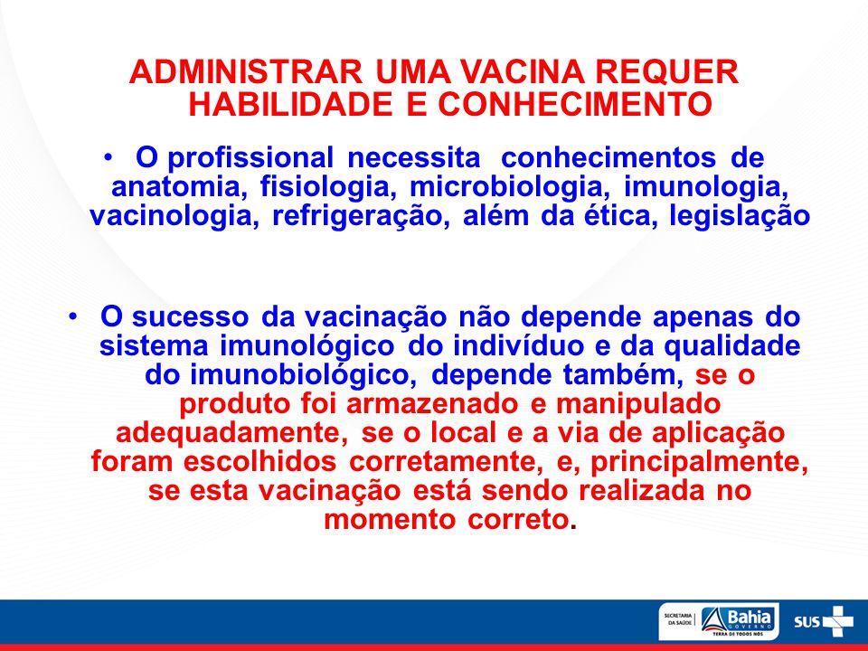 ADMINISTRAR UMA VACINA REQUER HABILIDADE E CONHECIMENTO