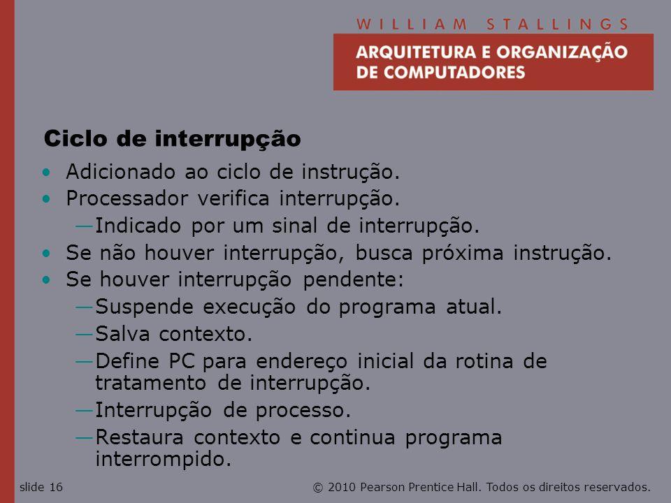 Ciclo de interrupção Adicionado ao ciclo de instrução.