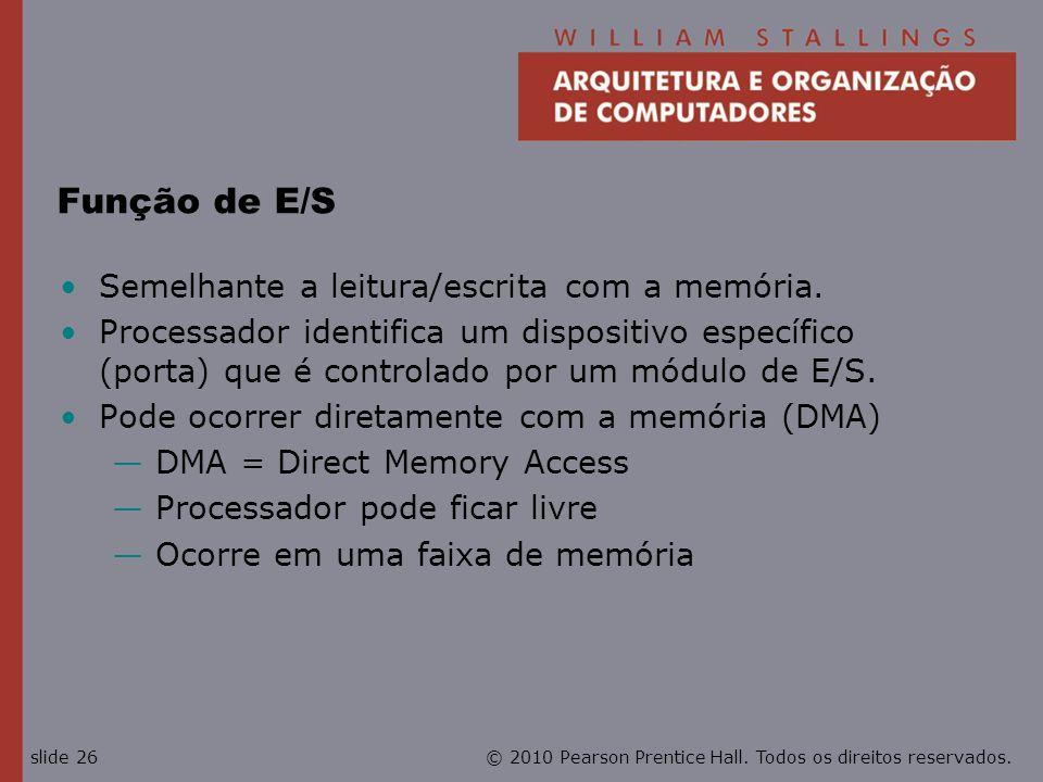 Função de E/S Semelhante a leitura/escrita com a memória.