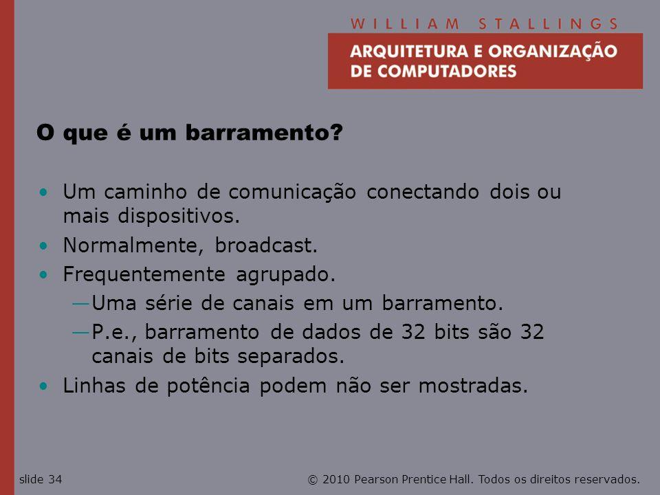 O que é um barramento Um caminho de comunicação conectando dois ou mais dispositivos. Normalmente, broadcast.