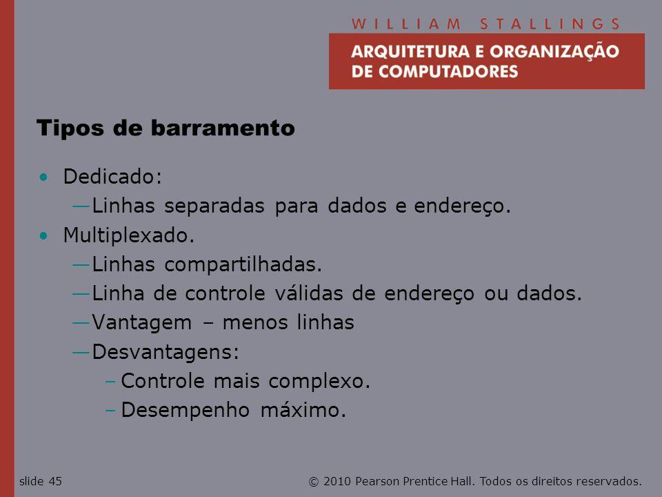 Tipos de barramento Dedicado: Linhas separadas para dados e endereço.