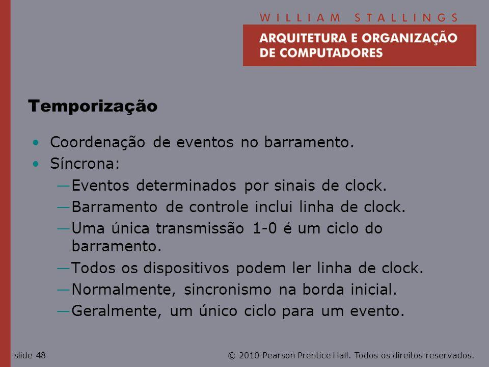 Temporização Coordenação de eventos no barramento. Síncrona: