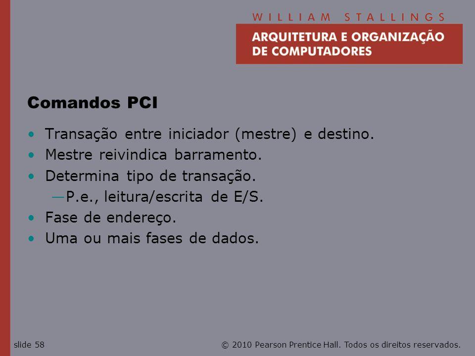 Comandos PCI Transação entre iniciador (mestre) e destino.