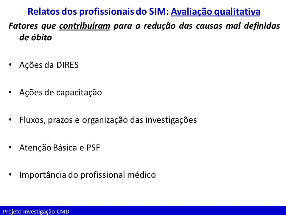 Relatos dos profissionais do SIM: Avaliação qualitativa