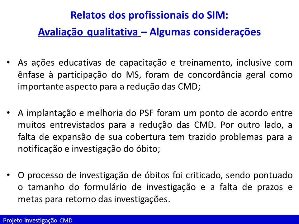 Relatos dos profissionais do SIM:
