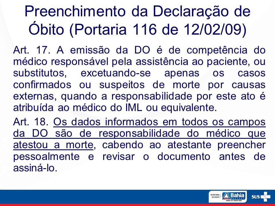 Preenchimento da Declaração de Óbito (Portaria 116 de 12/02/09)
