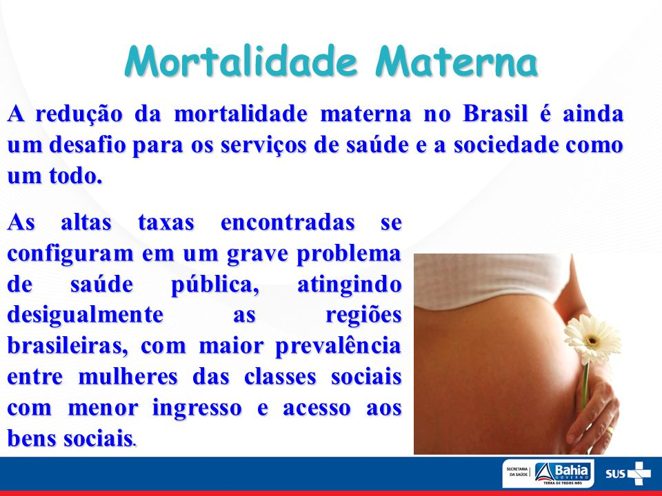 Mortalidade Materna A redução da mortalidade materna no Brasil é ainda um desafio para os serviços de saúde e a sociedade como um todo.