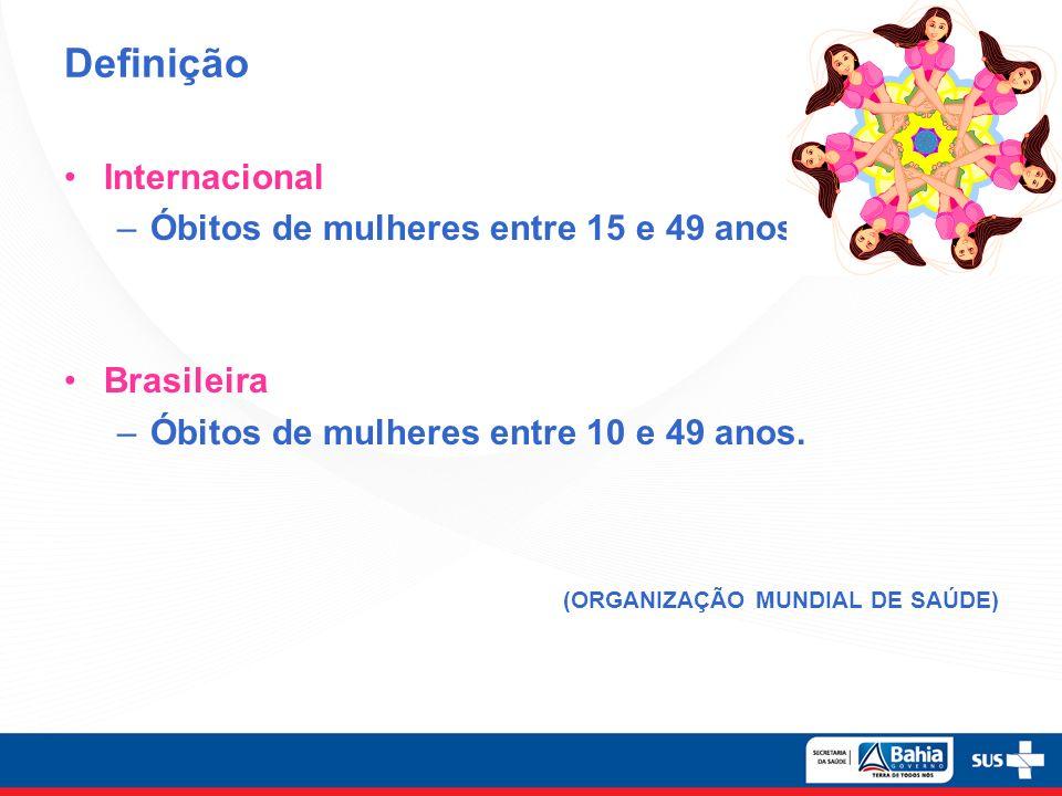 Definição Internacional Óbitos de mulheres entre 15 e 49 anos.