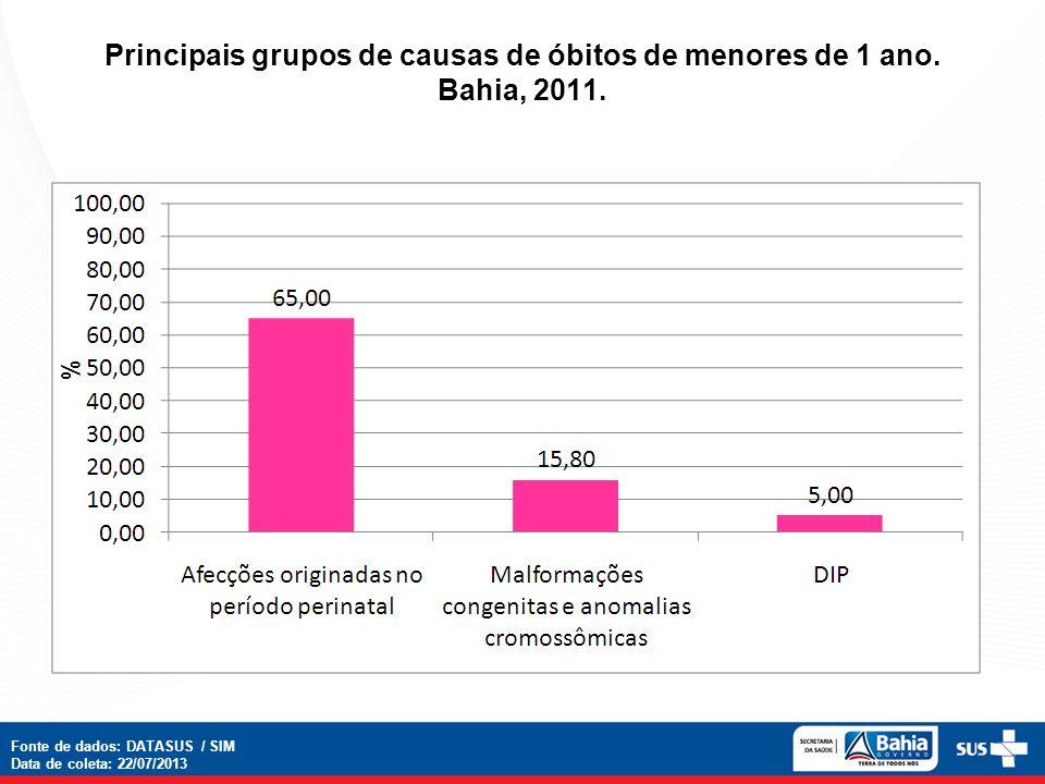 Principais grupos de causas de óbitos de menores de 1 ano. Bahia, 2011.