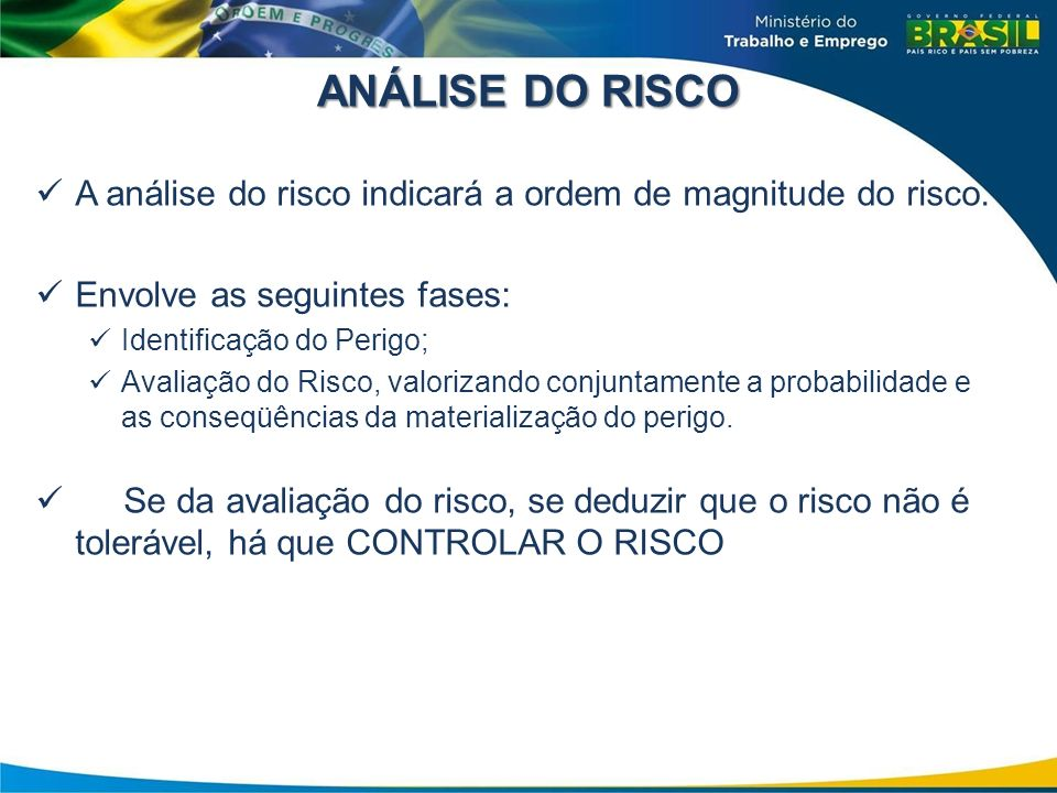 ANÁLISE DO RISCO A análise do risco indicará a ordem de magnitude do risco. Envolve as seguintes fases: