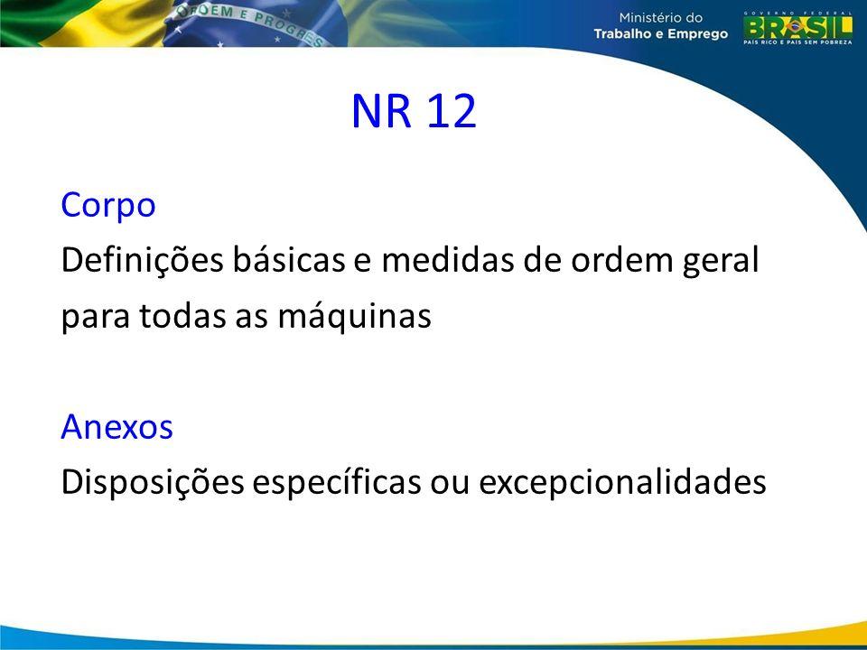 NR 12Corpo Definições básicas e medidas de ordem geral para todas as máquinas Anexos Disposições específicas ou excepcionalidades