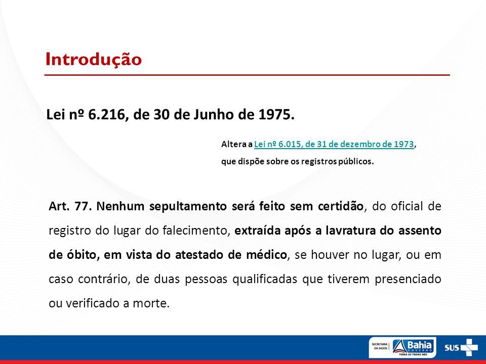 Introdução Lei nº 6.216, de 30 de Junho de 1975.