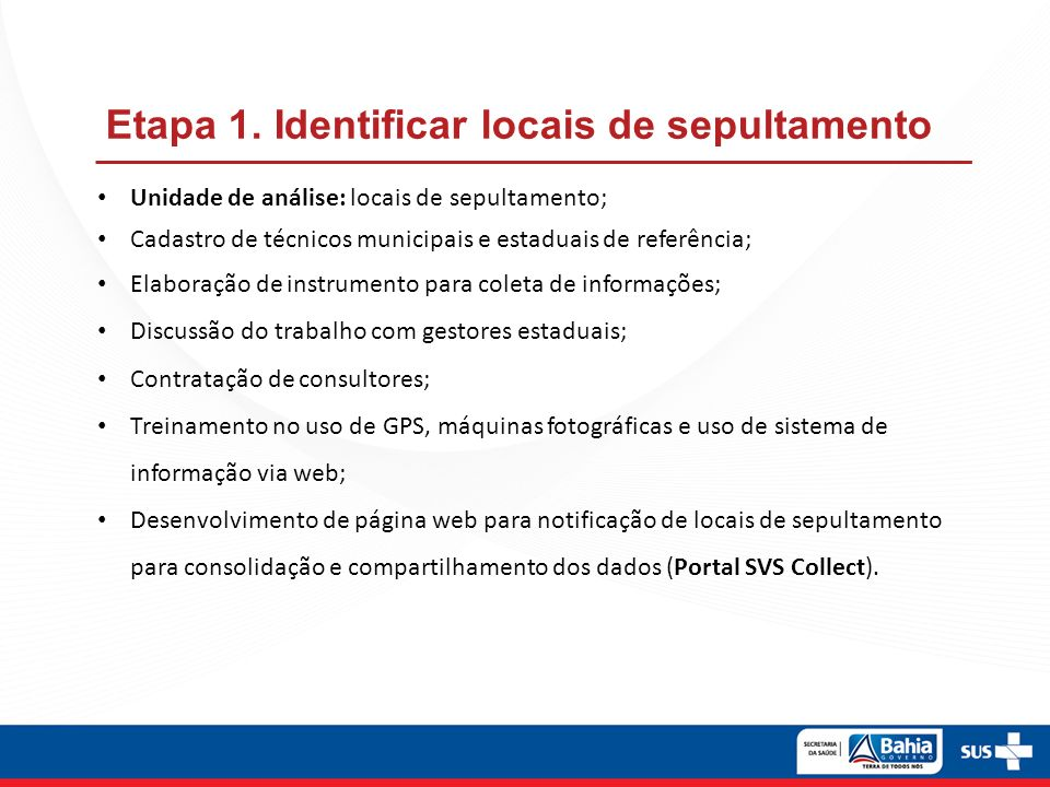 Etapa 1. Identificar locais de sepultamento