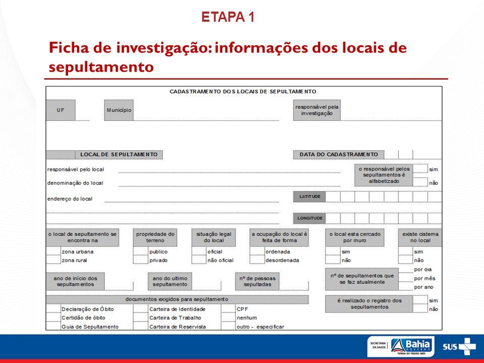 Ficha de investigação: informações dos locais de sepultamento