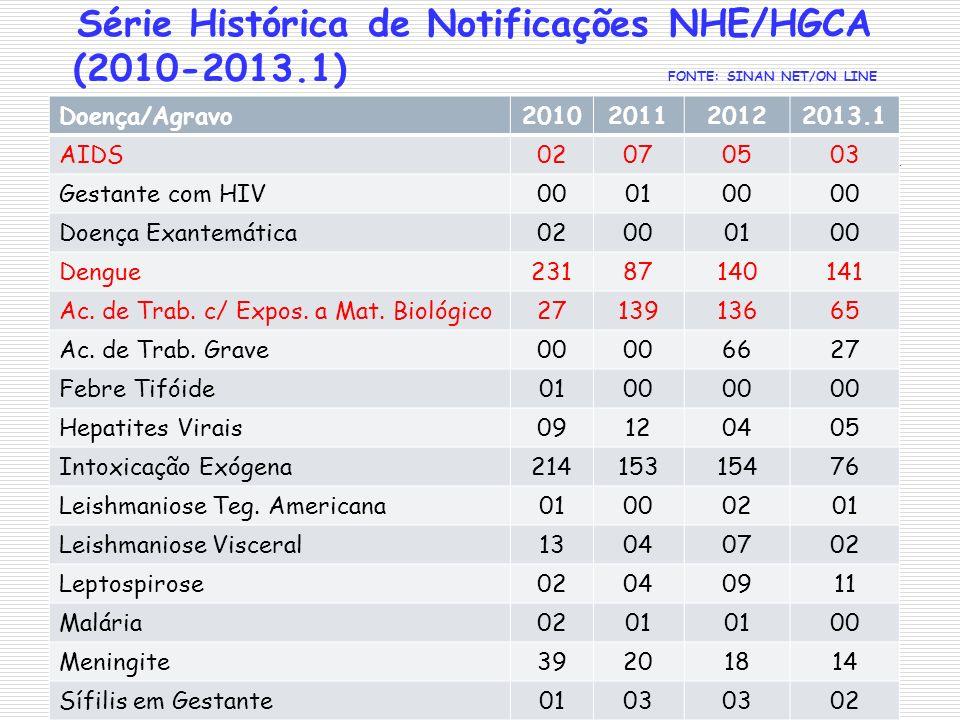 Série Histórica de Notificações NHE/HGCA (2010-2013