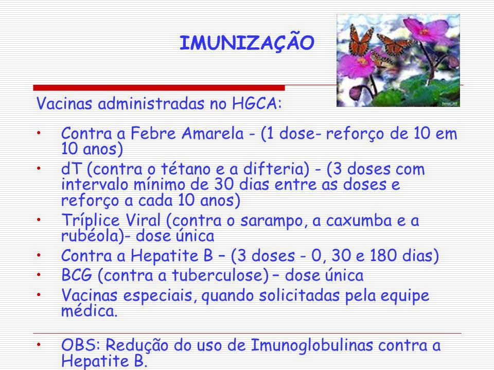 IMUNIZAÇÃO Vacinas administradas no HGCA: