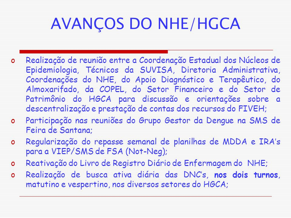 AVANÇOS DO NHE/HGCA