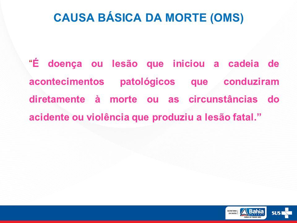 CAUSA BÁSICA DA MORTE (OMS)
