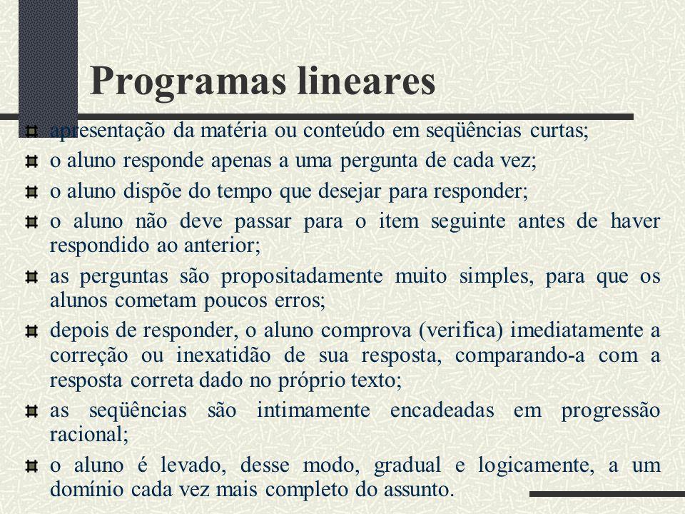 Programas lineares apresentação da matéria ou conteúdo em seqüências curtas; o aluno responde apenas a uma pergunta de cada vez;