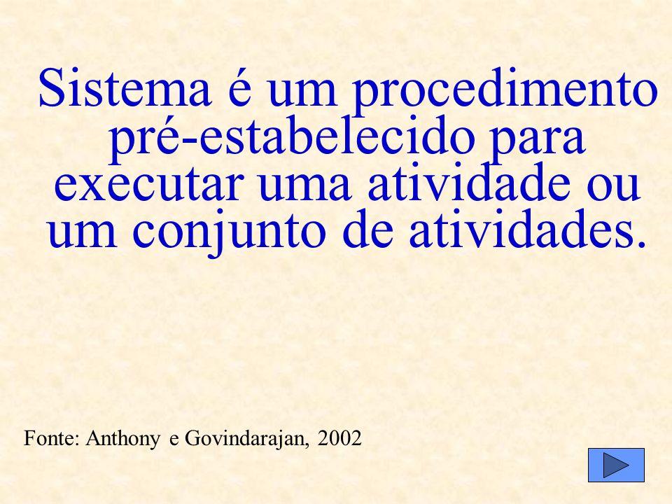Sistema é um procedimento pré-estabelecido para executar uma atividade ou um conjunto de atividades.